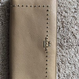 Coach Madison studded pebble leather zip wallet